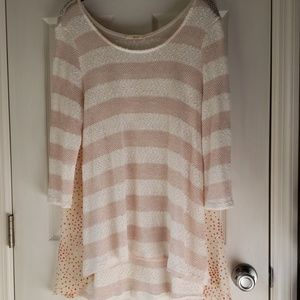 NWOT Super Cute Pink and White Blouse